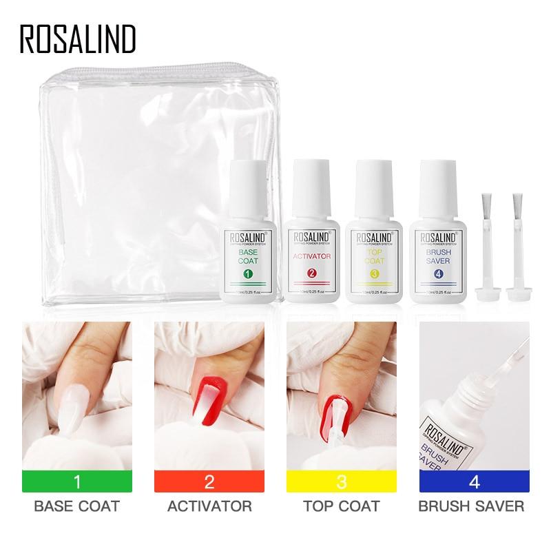 ROSALIND набор порошковой системы для ногтей жидкое базовое верхнее покрытие активатор чистый дизайн ногтей естественное сухое без лампы лече...
