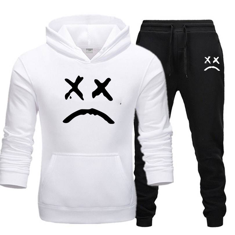 2019 Autumn Winter Brand Men's Sportswear Running Sporting Suits Men Hip Hop Hooded Hoodies + Pants Tracksuits Casual Sets