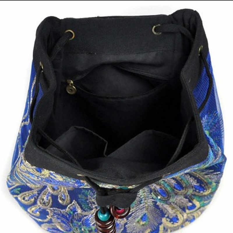 Veowalk Павлин блёстки вышитые женские холщовые рюкзаки ручной работы женские цветочные рюкзаки женская маленькая школьная сумка рюкзак