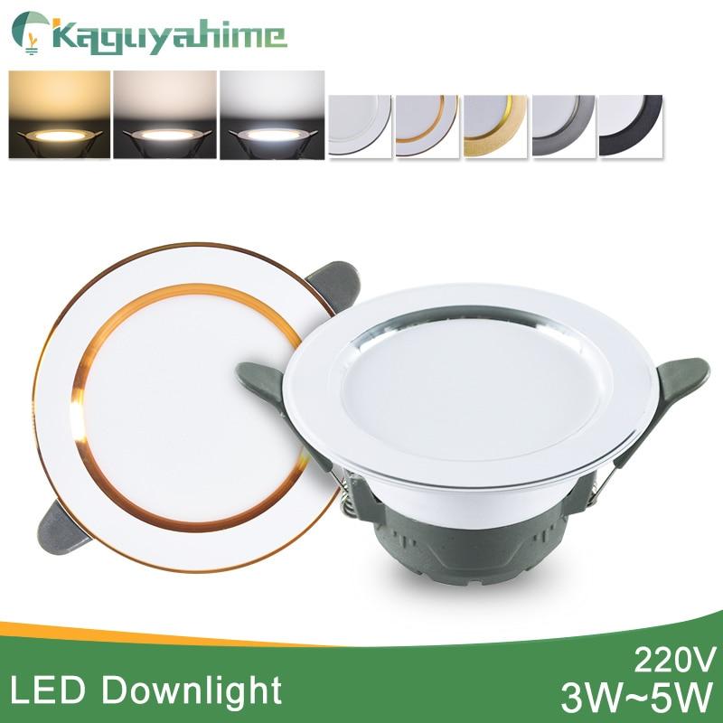Kaguyahime 1/4pcs Downlight 3000k 4500K 6000K LED Spot Light 5w Indoor Recessed Lamp AC 220V LED Spotlight Gold Silver SurfaceLED Downlights   -