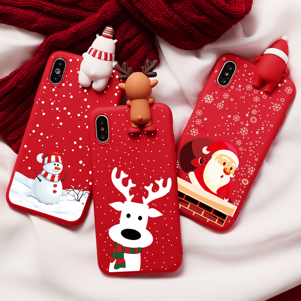 Cartoon Christmas Deer Case For iPhone 11 Pro XS Max XR X 5 5S Matte TPU Red Coque For iphone 7 8 6 S 6S Plus 7Plus Case Bear image