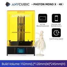 3D принтер Anycubic Photon Mono X, 8,9 дюйма, 4K, монохромный ЖК дисплей, быстрая скорость печати, дистанционное управление через приложение, SLA/LCD принтер 3D