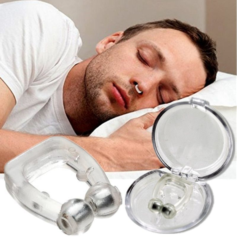 Silicone Magnetic Anti Snore Stop Snoring Nose Clip Sleep Tray Sleeping Aid Apnea Guard Night Device With Case