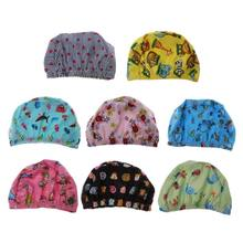 Baby Newborn Swimming Hats Infant Cartoon Printed Swimming Hats Bathing Waterproof Hats For Children Boys Girls Pool 0-6Y(China)