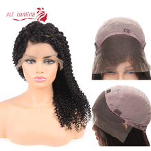 Ali Lumina 13X4 Peruvian Hair Lace Front Wig Human Kinky Curly For Women Remy Natural Color 10-30 Inches