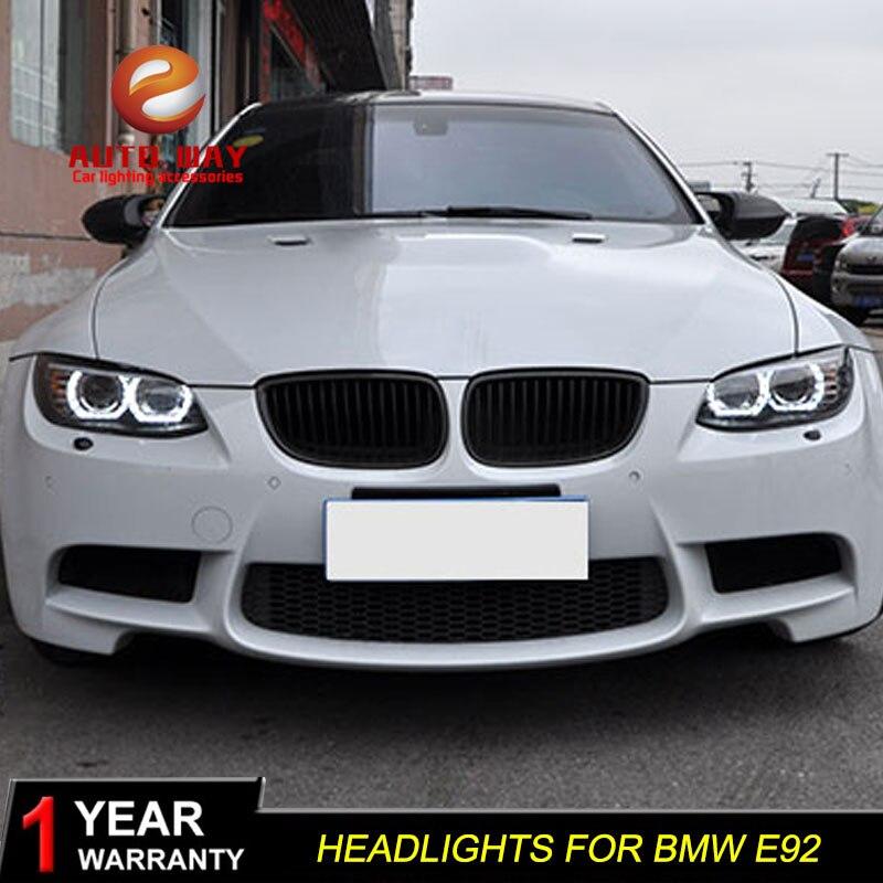 Boîtier de lampe frontale de style de voiture pour BMW M3 328i 335i 330i E92 E93 2006 2012 phares phare LED lentille DRL Double faisceau bi xénon - 4