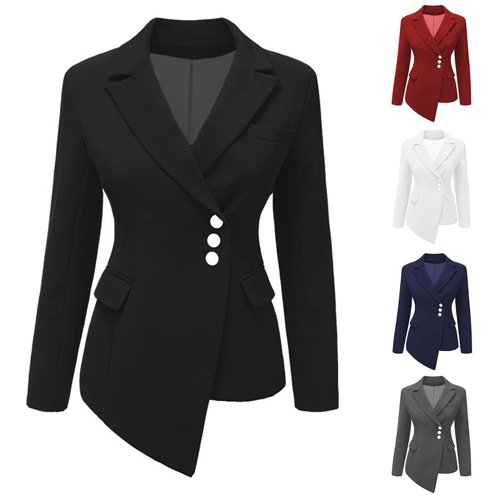 Spring Autumn Women Fashion Cool Solid Color Lapel Button Asymmetric Slim Coat Outwear Blazer