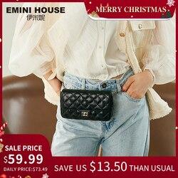 EMINI HAUS Diamant Gitter Taille Pack Öl Wachs Echtem Leder Kette Tasche Umhängetaschen Für Frauen Schulter Tasche Damen Geldbörse