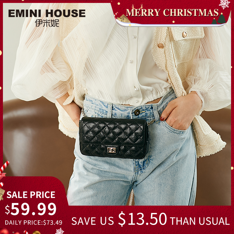 EMINI HOUSE Diamond Lattice Waist Pack Oil Wax Genuine Leather Chain Bag Crossbody Bags For Women Shoulder Bag Ladies Purse