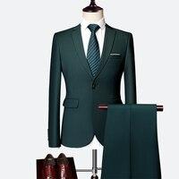 Классический мужской костюм, набор, 2019, высокое качество, подгонянный, сплошной цвет, тонкий, деловой костюм, жених, свадебная одежда, высоко...