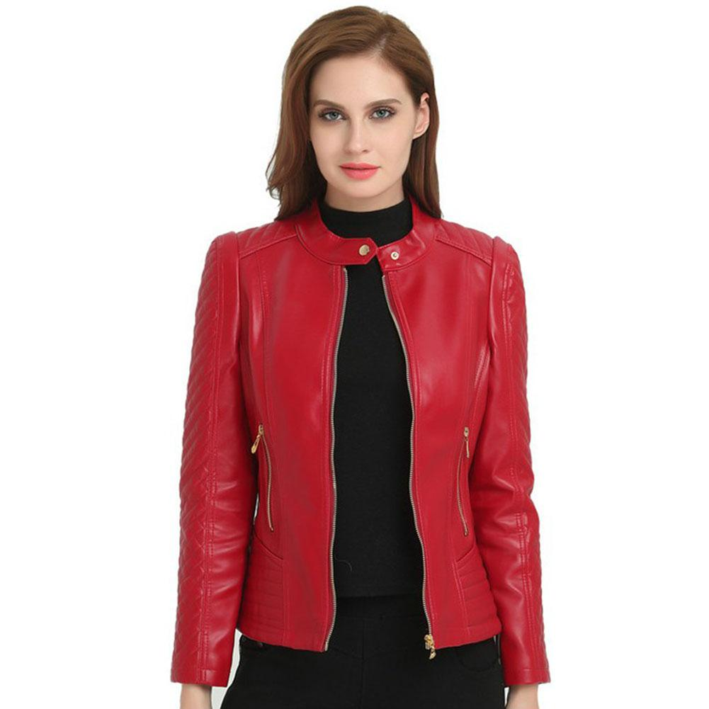 DSstyles 1 Pcs Plus-size Short slim pu motorcycle leather   jacket   Woman Short Motorcycle Pu Leather Zipper Women   Basic     Jackets