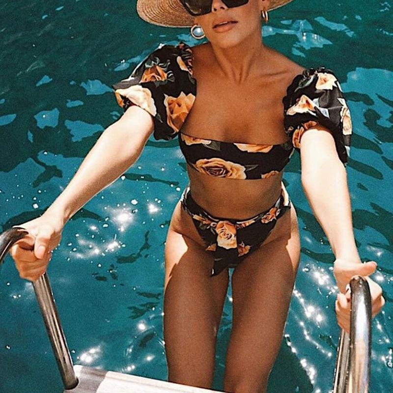 Sexy Bandeau Bikinis Women Swimsuit Push Up Swimwear Ruffle Bikini Set Brazilian Biquinis Female Beachwear Print Swim Wear Beach 1