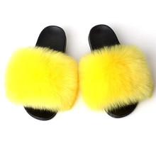 Kobiety buty sztuczne kapcie futrzane damskie kapcie futrzane domowe kapcie futra lisa sandały kapcie plażowe klapki pluszowe futro slajdy tanie tanio AoXunLong Niska (1 cm-3 cm) Pasuje prawda na wymiar weź swój normalny rozmiar AXL0309 Podstawowe Faux Futra Stałe Zima