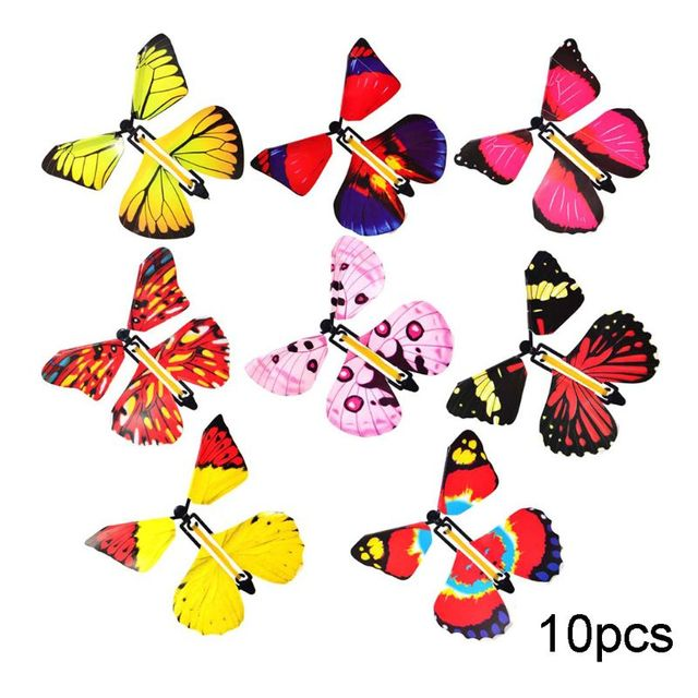 10/20PCS Flying in the Book Fairy Rubber Band Powered Wind Up Great Surprise Birthday Wedding Card Gift Butterfly Card Magic Toy 2