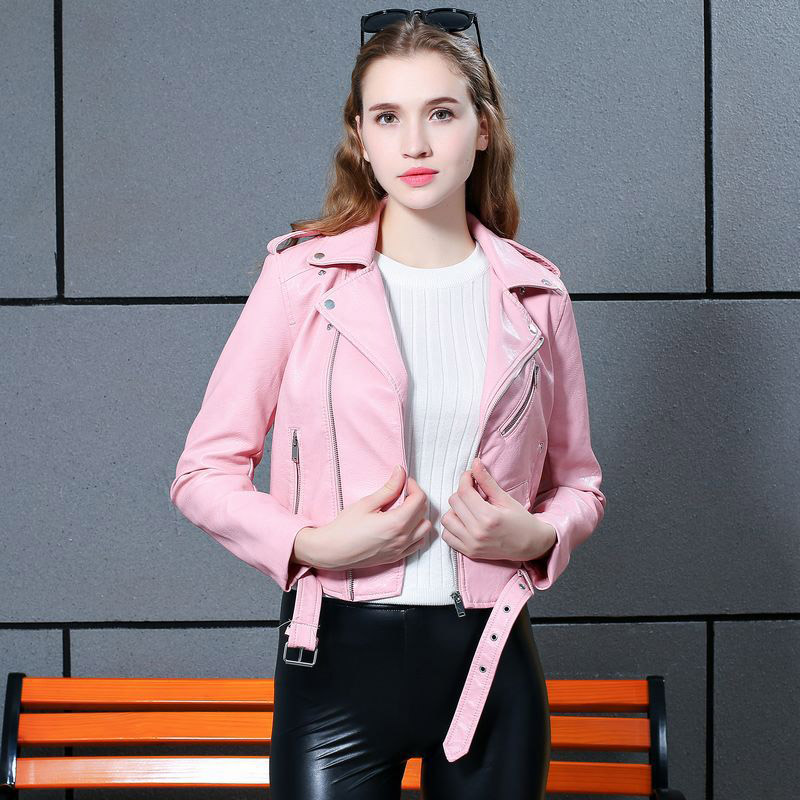 Women's Gothic Short Motorcycle Pink Faux   Leather   Jacket Coat 2019 Fashion Autumn Winter Outerwear Shrug Clothes