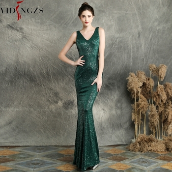 Green Sequins Evening Dress YIDINGZS Sleeveless V-neck Elegant Long Evening Party Dress YD16283