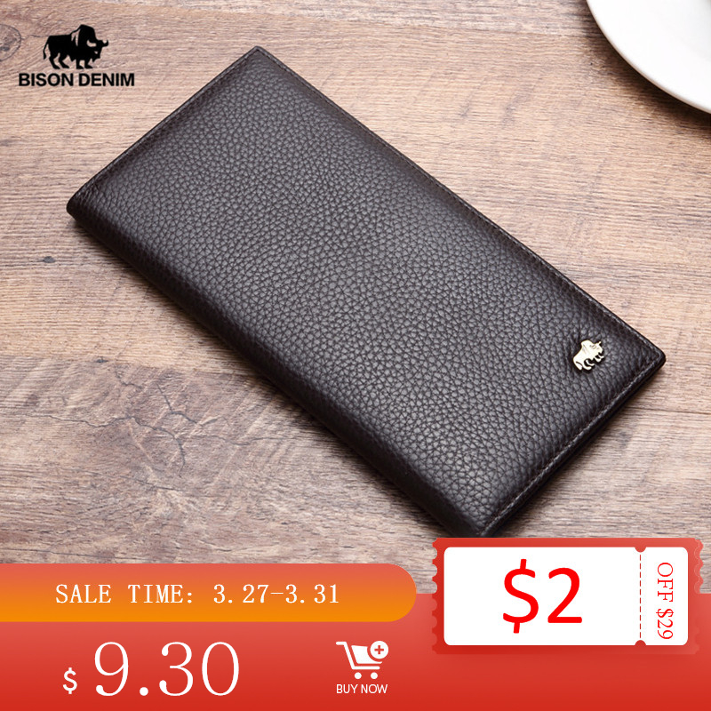 BISON DENIM Long Purse Bag Wallet Business Men's Thin Genuine Leather Wallet Luxury Brand Design Handy Slim Male Wallet N4470-1