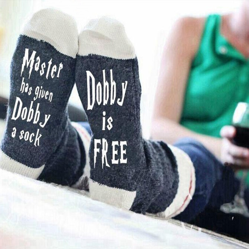 Master Has <font><b>Given</b></font> Dobby A Socks Leisure Time Men And Women English Letter Socks Full Cotton Socks image