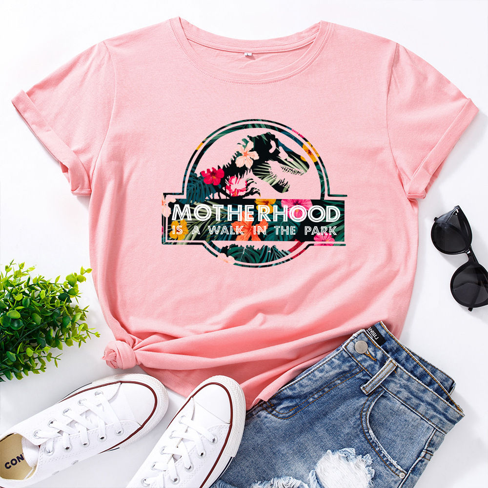 JFUNCY Casual Cotton T-shirt Women T Shirt Motherhood Letter Printed Oversized Woman Harajuku Graphic Tees Tops 15
