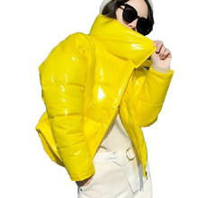 2019 Glossy Winter Down Cotton Padded Jacket for Women Thick Bright Black Short Shiny Jacket Yellow Red Cotton Parkas