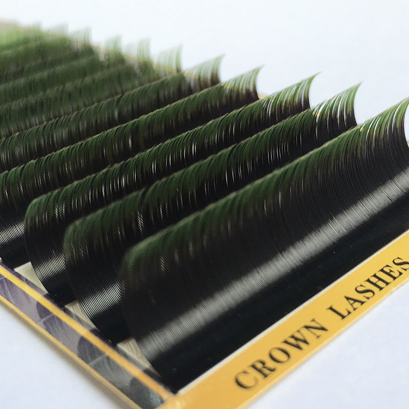 CrownLash 2tone Lash Ombre Lash Extension C D 0.07 0.15 7-15mm Dual Color Green