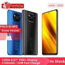 Version mondiale Xiaomi POCO X3 NFC 6GB 128GB téléphone portable Snapdragon 732G 64MP Quad caméra Smartphone 6.67