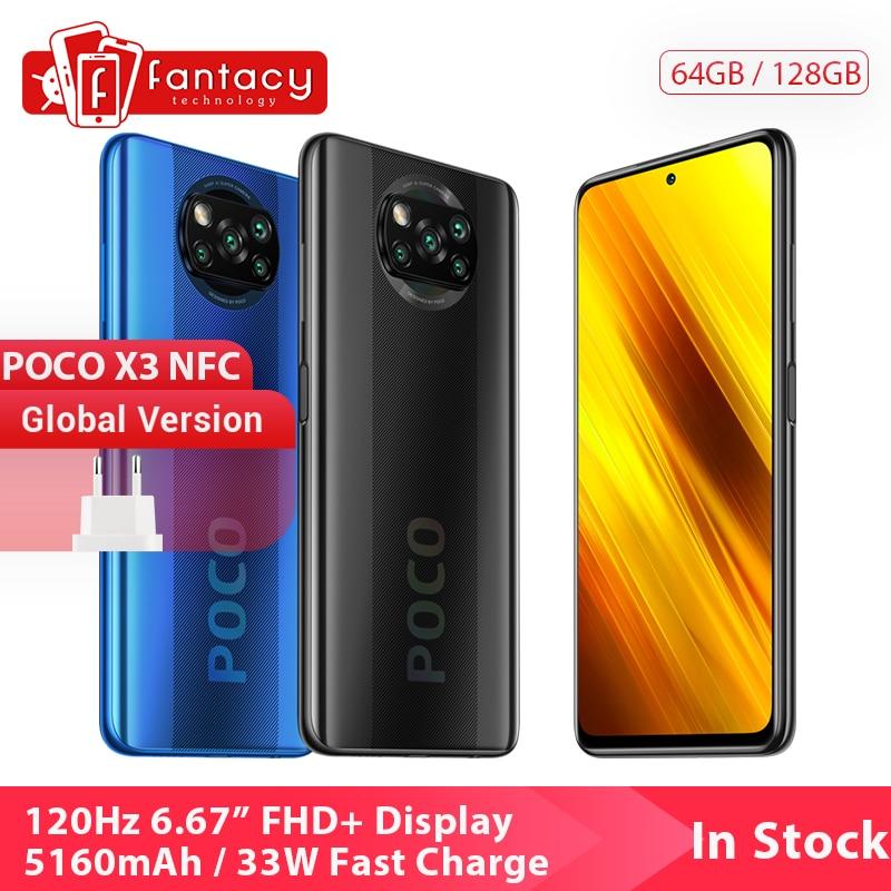 "Version mondiale Xiaomi POCO X3 NFC 6GB 128GB téléphone portable Snapdragon 732G 64MP Quad caméra Smartphone 6.67 ""120Hz 5160mAh"