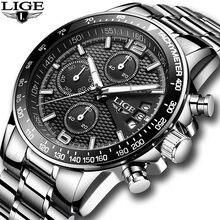 Часы наручные lige Мужские кварцевые брендовые Роскошные полностью