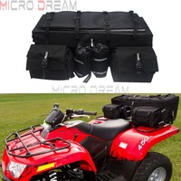 ATV Cargo Bag Rear Rack Gear Bag Made of 600D Waterproof Fabric w/ Topside Bungee Tie Down Storage Multi compartment Travel Bags