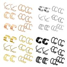 6 Pairs Stainless Steel Ear Clips Non Piercing Earrings Hoop Ear Cuffs Ear Clips(China)