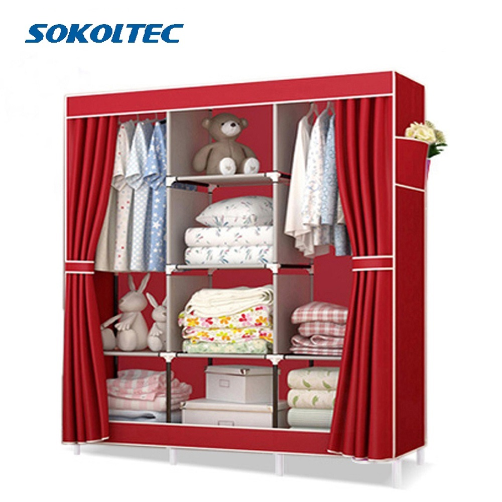 Fast Dispatch Sokoltec bedroom wardrobe floor hanger clothing storage cabinet multi purpose non-woven cloth furniture title=
