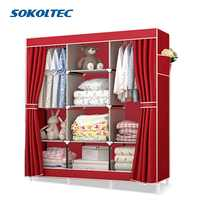 Fast Dispatch Sokoltec bedroom wardrobe floor hanger clothing storage cabinet multi purpose non-woven cloth furniture