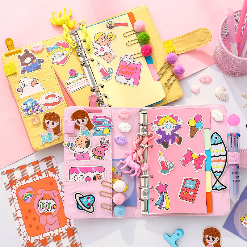 <font><b>Kawaii</b></font> Transparent PVC Spiral <font><b>Note</b></font> <font><b>Book</b></font> Hand Account Diary <font><b>Book</b></font> A6 Loose-leaf <font><b>Book</b></font> Girl Kids Stickers Gift School Office Supply image