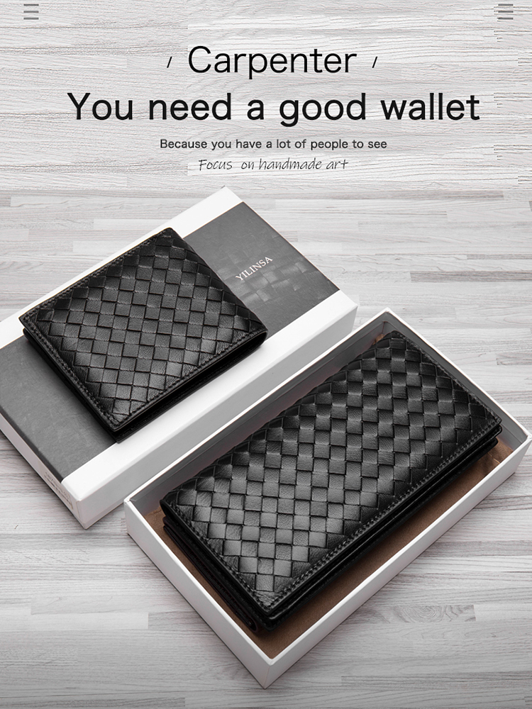 Men Wallets Purses Sheepskin Handmade Premium Genuine-Leather Luxurious Folio Soft Knitting