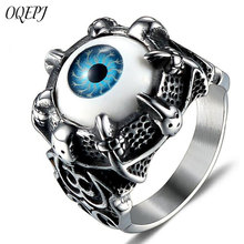 OQEPJ New Punk Dragon Claw Domineering Devils Eye Rings Stainless Steel Biker Pendants Personality Men Charm Creative Jewelry