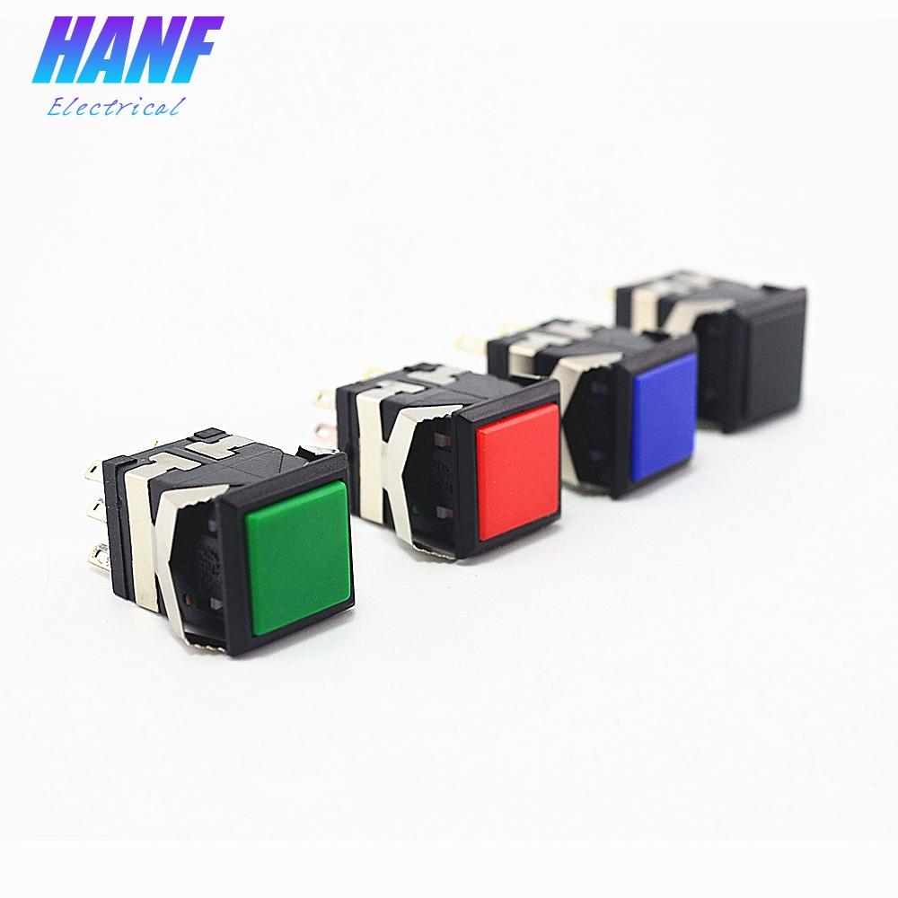 1pcs Square Momentary Plastic Push Button Switch 2NO2NC   6pins 6A/125V 3A/250V Snap-in Button Switch Red/Green/Blue/Black