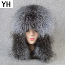Outdoor Unisex Winter Russian Real Fox Fur Hat Warm Soft Quality Real Raccoon Fur Bombers Cap Luxury Real Sheepskin Leather Hats cheap doakxol WOMEN Adult Solid Bomber Hats YH-81213 100 natural real fox fur 100 natural real sheepskin leather Adjustable fit for everyone