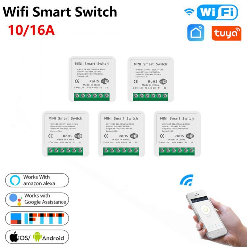 10/16A Мини Смарт Wi-Fi для переключателя «сделай сам» поддерживает связь с 2-мя способ Управление Модуль Автоматизации