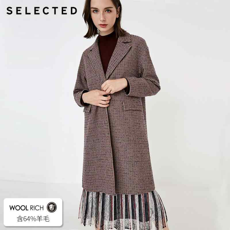 SELECTED Women's Winter Houndstooth Lapel Woolen Overcoat S|418427513