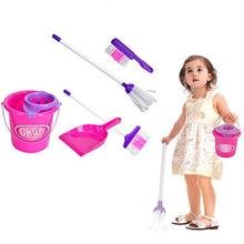 Toy Dustpan-Set Broom Play-House Housekeeping-Tools Pretend Cleaning Kids Bucket-Brush