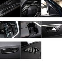Lsrtw2017 Carbon Fiber Abs Car Central Control Headlight Gear Panel Ven Steering Wheel Trims for Peugeot 3008 5008 2019 2020