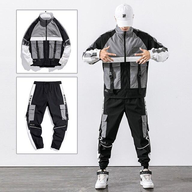 2021 Hip Hop Workwear jacket Mens Tracksuit Jacket+Pants 2PC Sets baseball loose Zipper Ribbons Coat & Long Pants Mens Clothes 3
