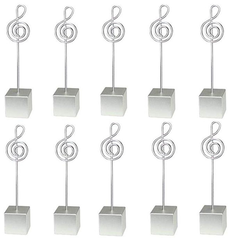 10Pcs Square Base Music Wire Photo Clip Resin Stand Memo Holder Music Shape Table Number Holder Wedding Favor Party Decoration