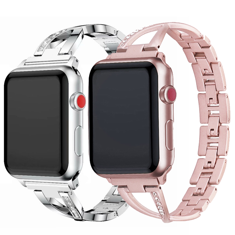 Women Watch band for Apple Watch strap 38mm 42mm 40mm 44mm diamond Stainless Steel correa iwatch series 5 4 32 pulseira Bracelet image