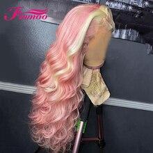 Perruque Lace Front Wig naturelle brésilienne Remy, cheveux humains, Loose Wave, couleur rose ombré, Lace transparente, densité 180