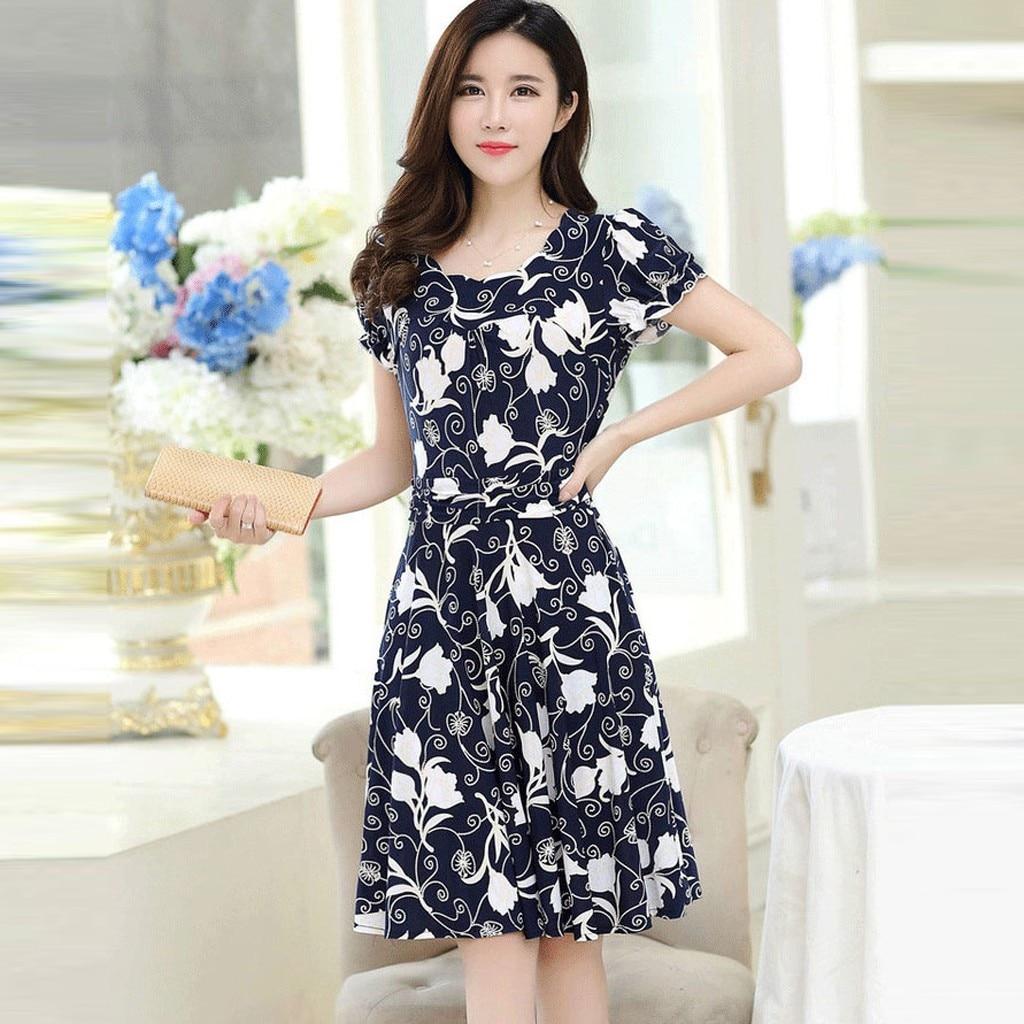 Fashion Dress Women Elegant O-neck Knee Length Office Casual Dresses Ladies Short Sleeve Retro Printing Dress Vestidos #P2 2