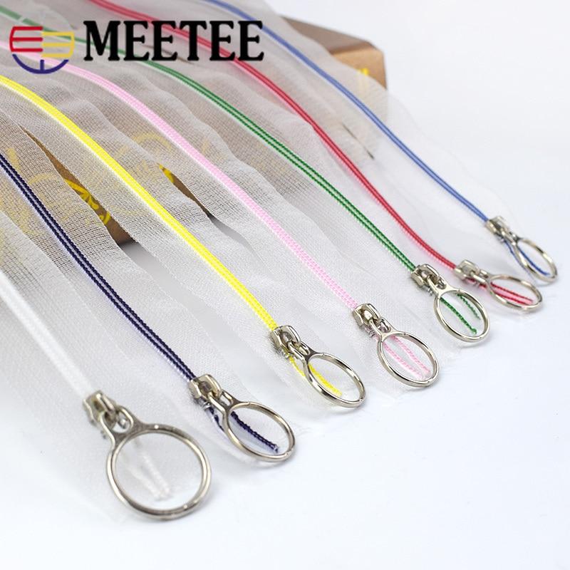 10pcs Meetee 3# 25cm Close-end Zippers Transparent Nylon Coil Zip DIY Tailor Bags Garment Sewing Craft Zipper Accessories A4-3