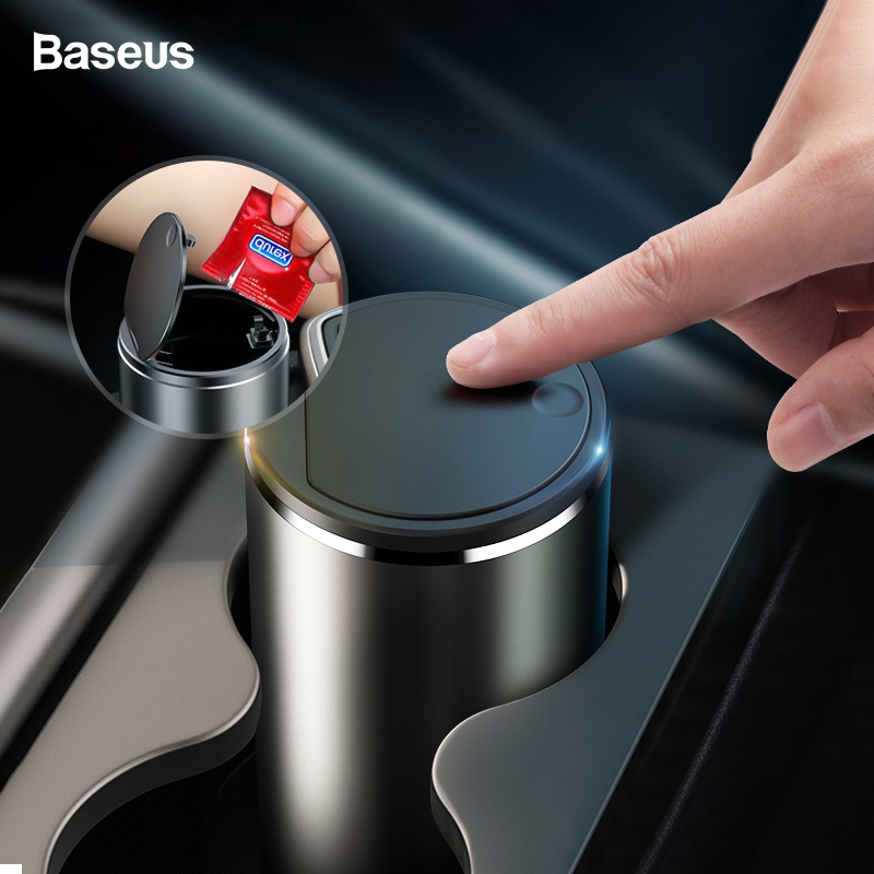 Baseus Car Trash Bin Alloy Garbage Can For Car Dustbin Waste Rubbish Basket Bin Organizer Storage Holder Bag Auto Accessories