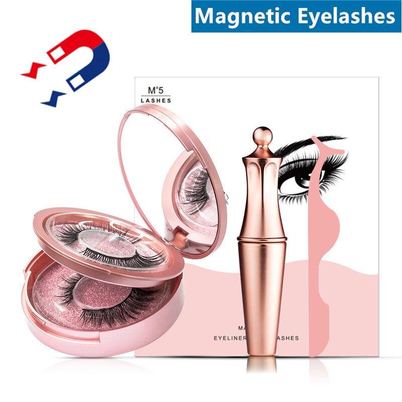 Magnetic Eyelashes Natural Long Magnetic Liquid Eyeliner & Magnetic False Eyelashes & Tweezer Set Mink Lashes For Dropshipping