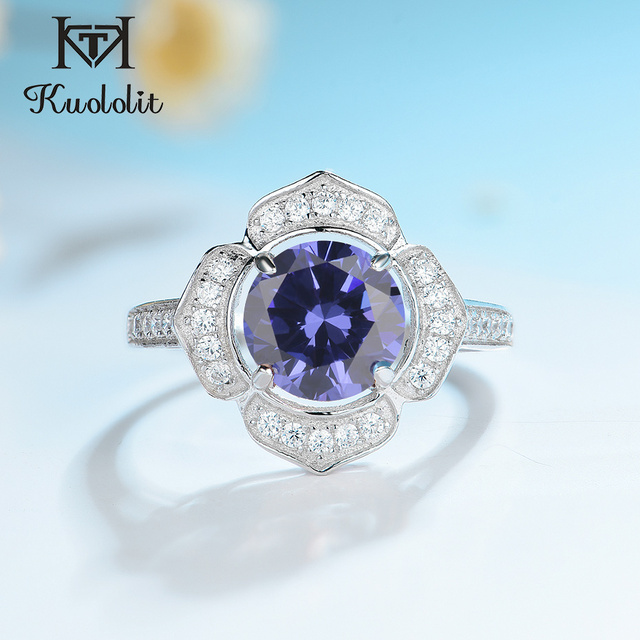 Kuololit Classic Tanzanite Ring Solid 925 Sterling Silver Rings For Women Brand Fine Jewelry Engagement Women Gift